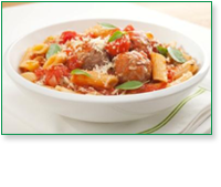 Family Style Penne Pasta & Meatballs